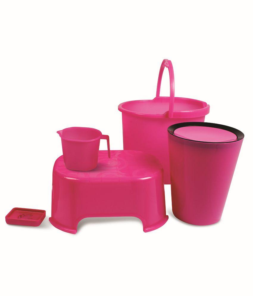 Plastic bathroom sets - Varmora Pink Virgin Plastic Bath Sets Set Of 5