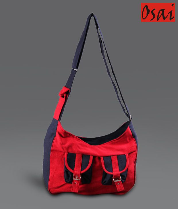 Osai Black & Red Buckle Sling Bag