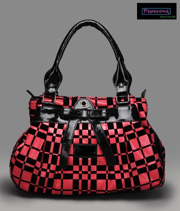 Peperone Glossy Red Black Checker Handbag
