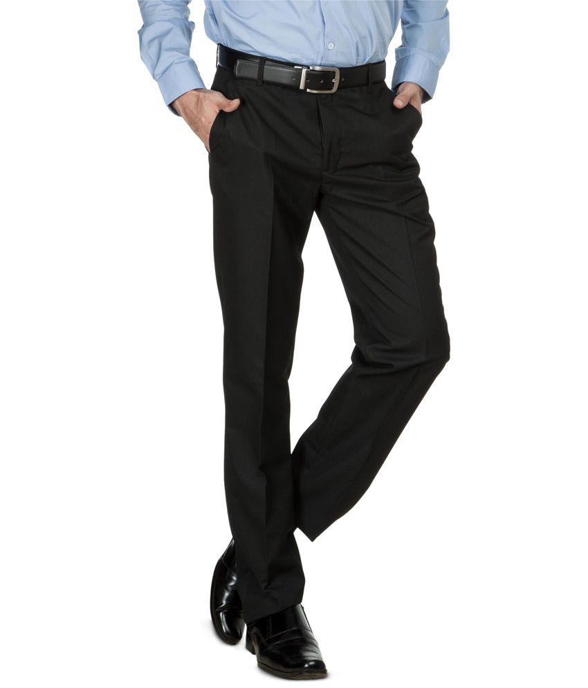 Zovi Black Self Striped Formal Trousers-regular Fit