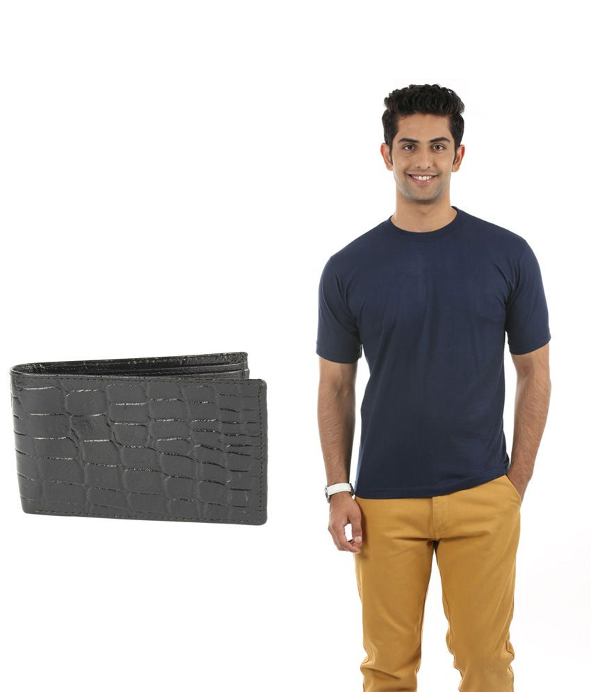 Fidato Black Cotton T-ShirtWith Leather Wallet