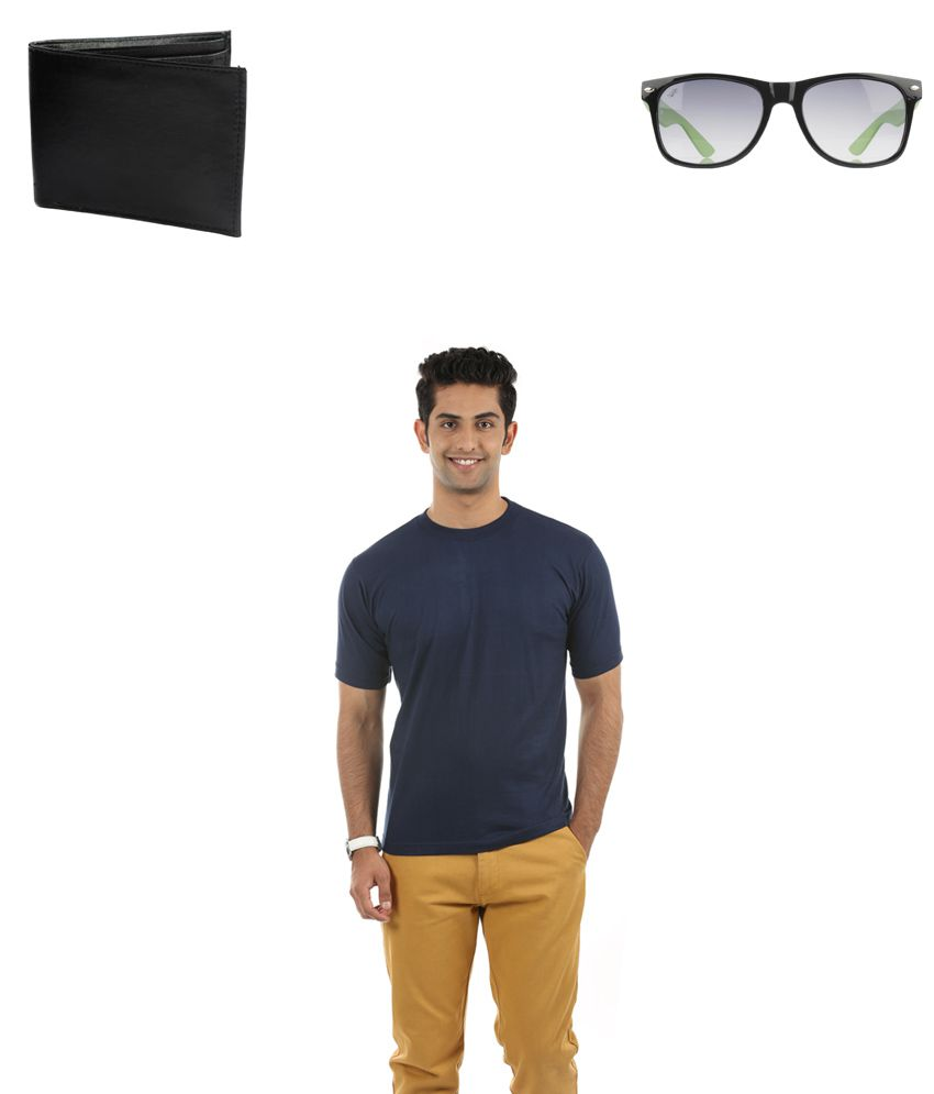 Fidato Blue Cotton T-ShirtWith Wayfarer sunglasses and Leather Wallet