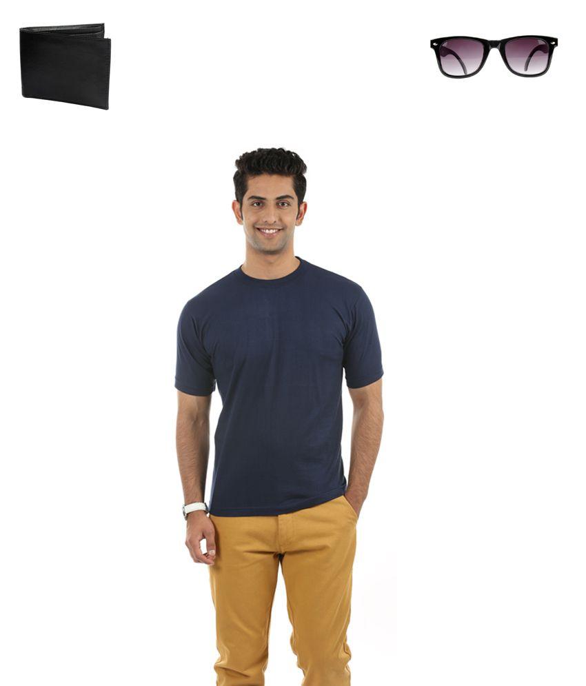 Fidato Blue Cotton T-ShirtWith Wayfarer sunglasses and Leather Wallet