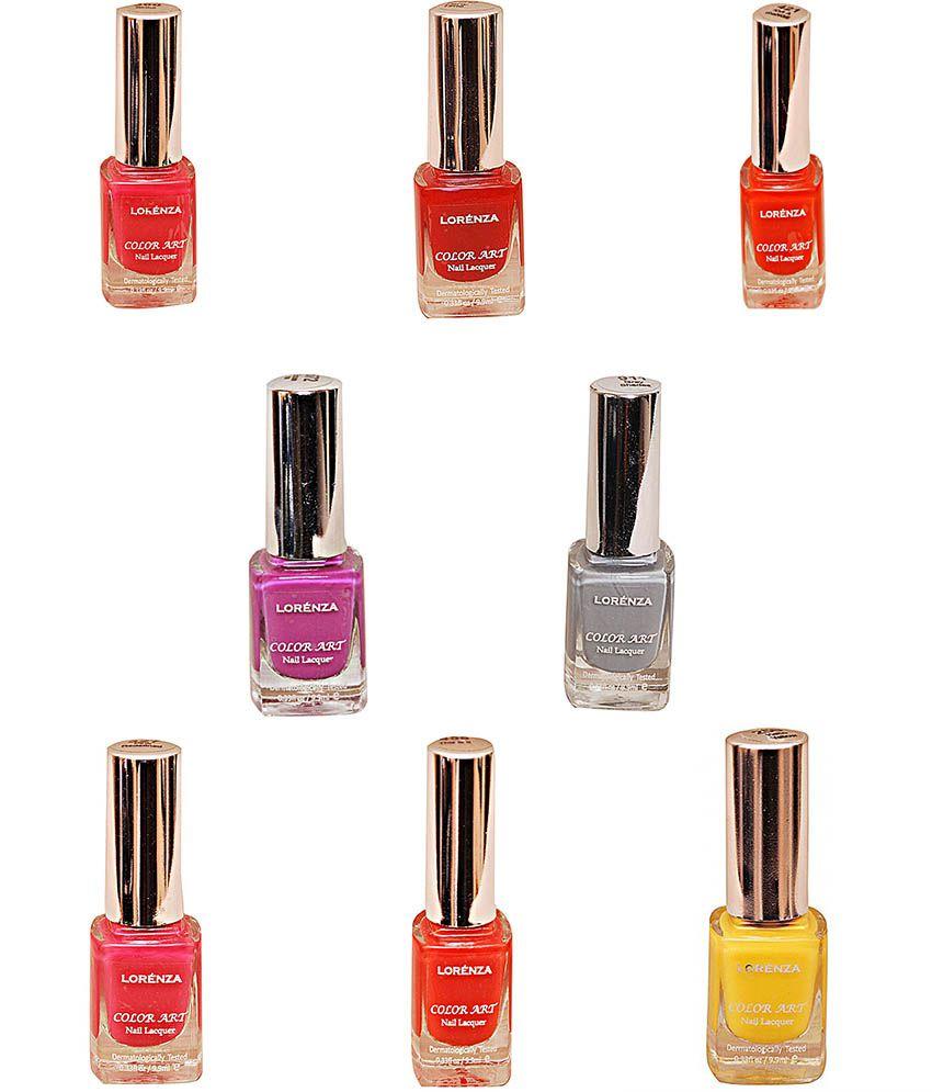 Lorenza Multicolour Nail Polish Combo 5 (buy 4 Get 4 Free)