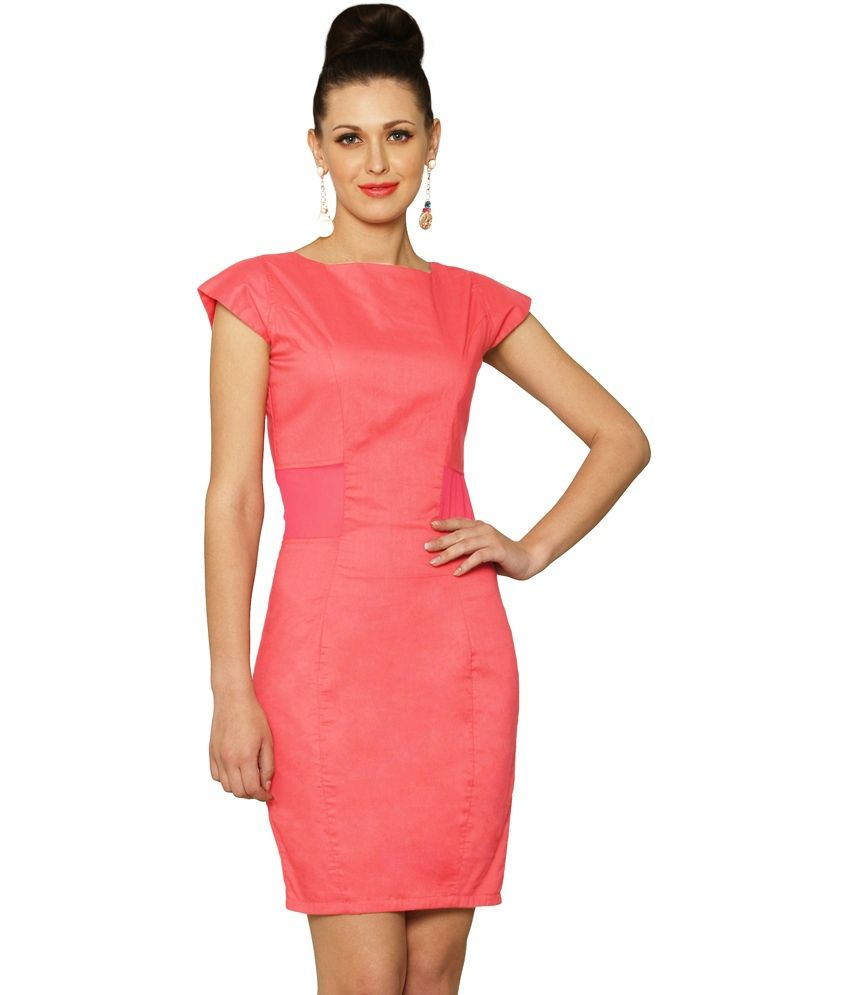 Miss Chase Pink Cotton Mini Bodycon Dresses For Women Cap Sleeve Boat Neck Casual Wear