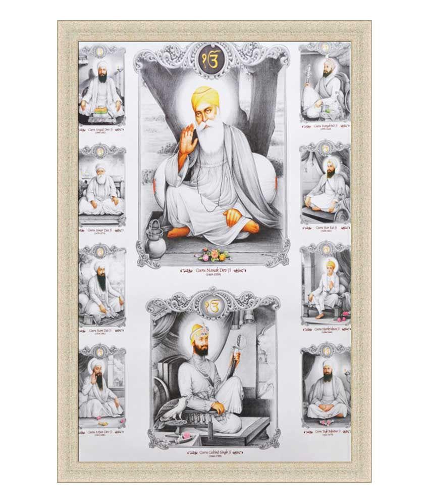 painting mantra all sikh guru black and white poster framed  buy painting mantra all sikh guru