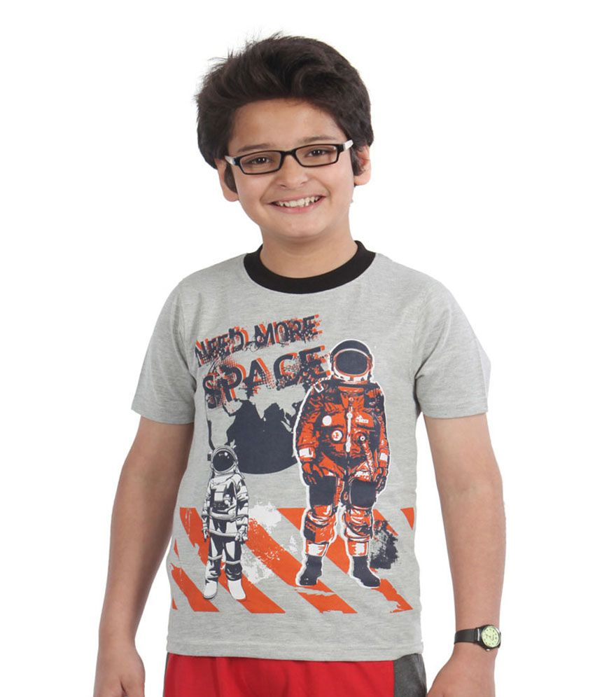 ef1758008339 Posh Kids Gray Half T shirts For Boys available at SnapDeal for Rs.272