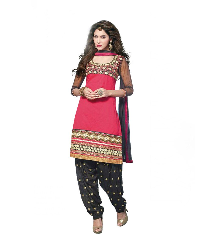 Vedanti Collection Red Cotton Straight Fit Patiala Embroidered Salwar Suit