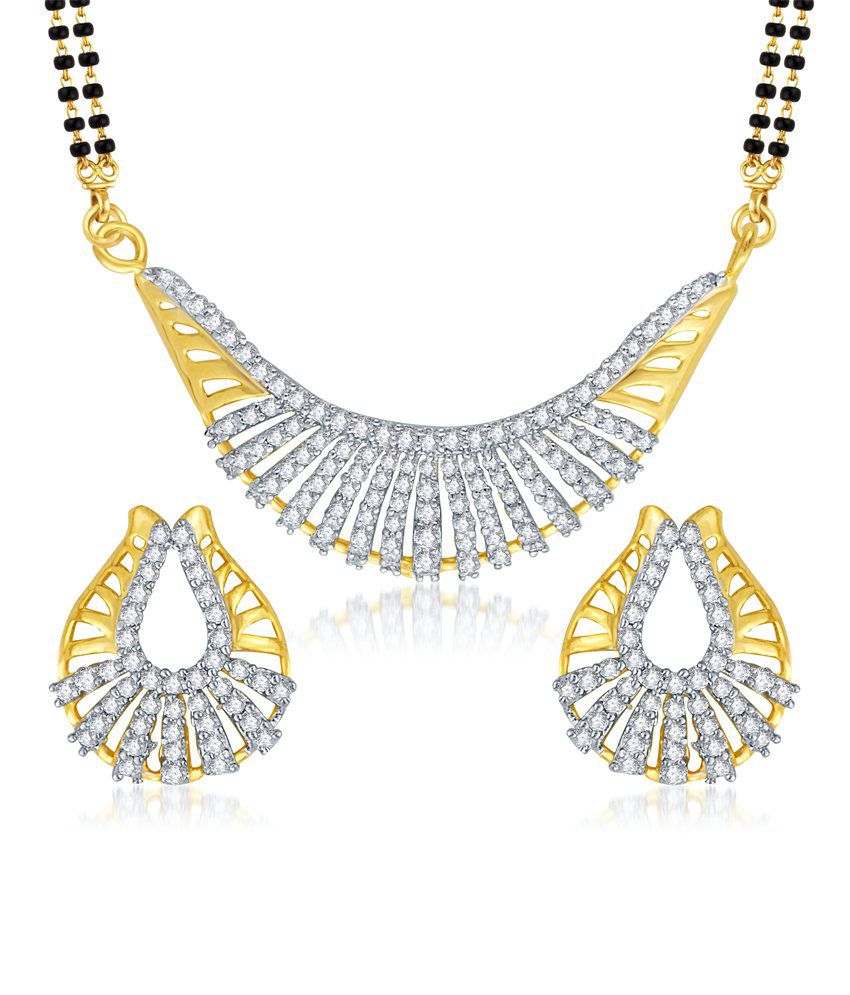 Vk Jewels Ravishing Gold And Rhodium Plated Mangalsutra Pendant Set With Earrings