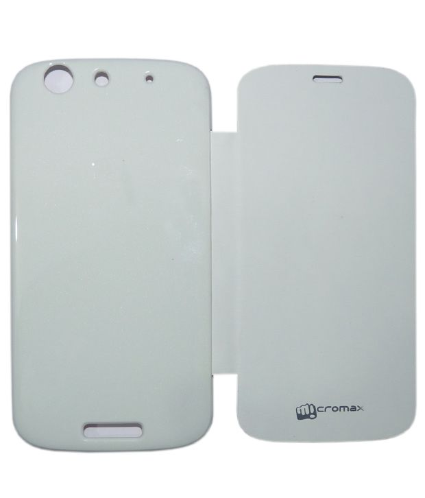 wholesale dealer 2ed60 2f724 Aara Premium Flip Cover Diary Case Cover For Micromax Canvas Gold A300 -  White