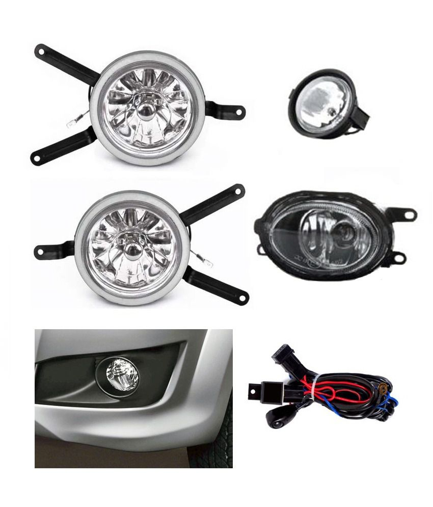Carsaaz Premium Quality Fog Lamp For Hyundai Santro Xing With Wiring Switch And White