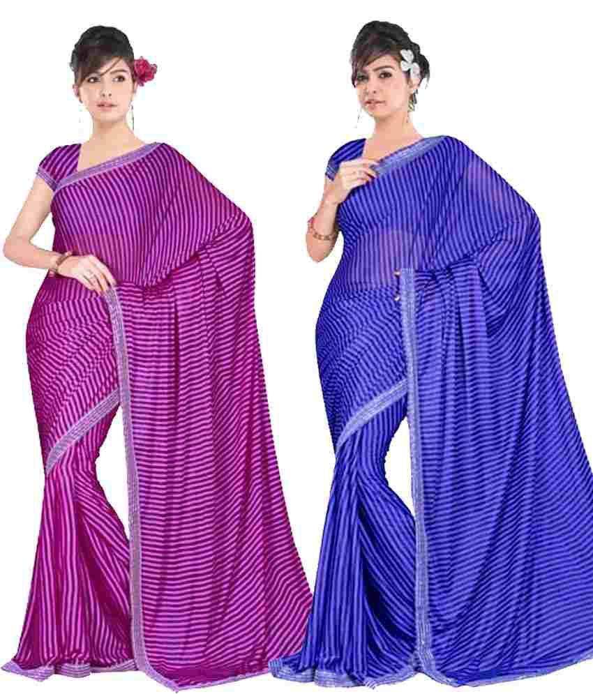 Gitanjali Fashions Combo Of Blue & Purple Art Lycra Saree