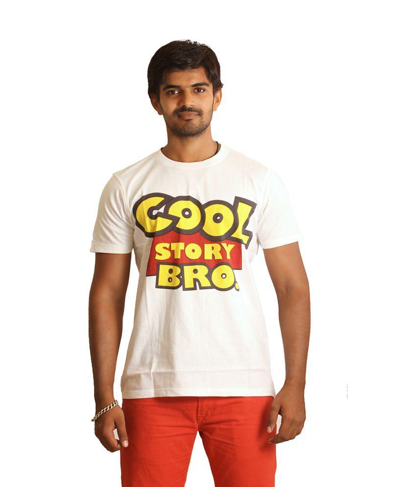 Nautanki Fashion White Half Cotton Round T-shirt