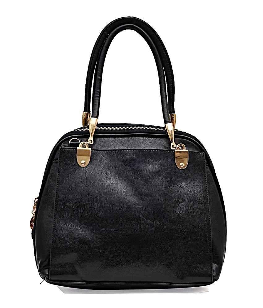 Hawai Black Big Sized Curve Zipped Handbag For Women