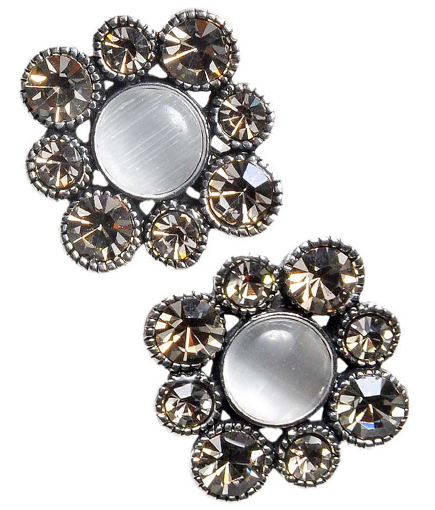Maayra Awesome Silver Designer Push Back Stud Earrings
