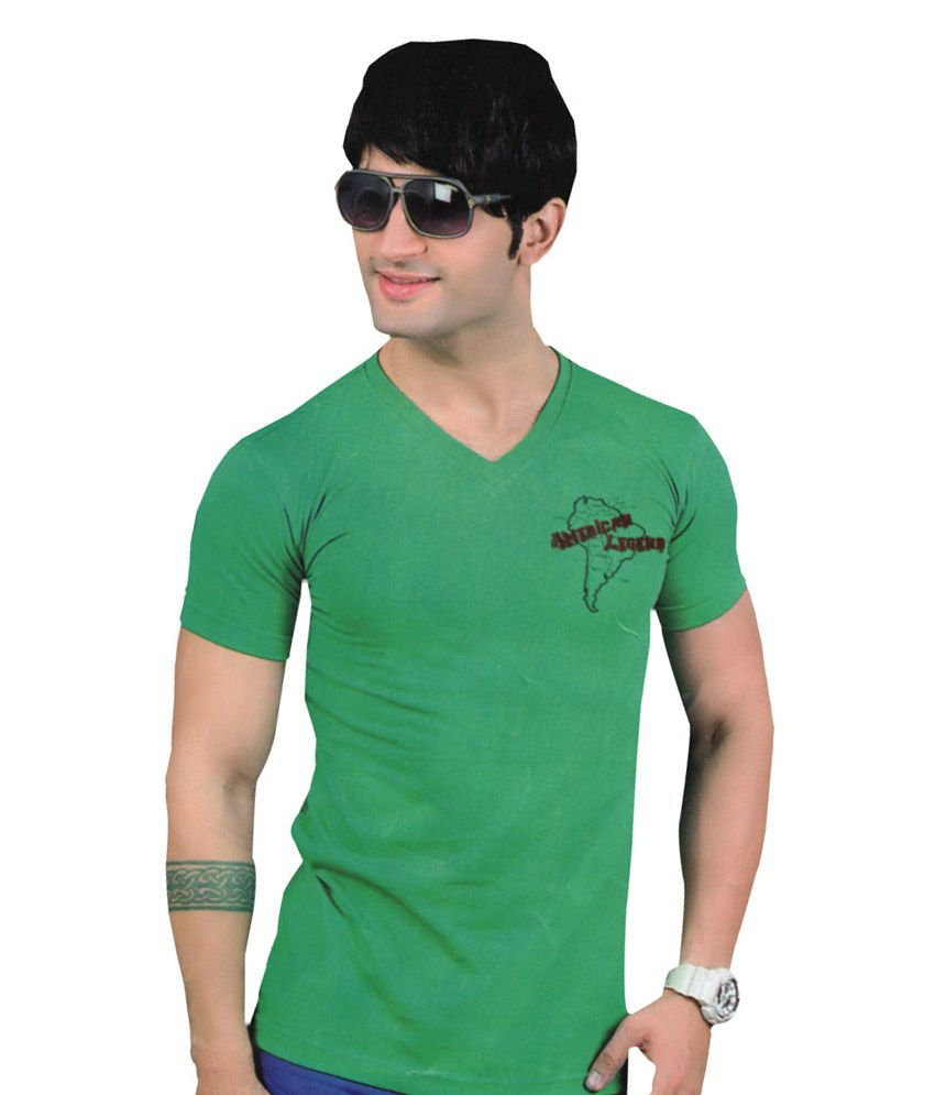 Mannmohh Slim Fit Funky Designer Green T-shirt For Men