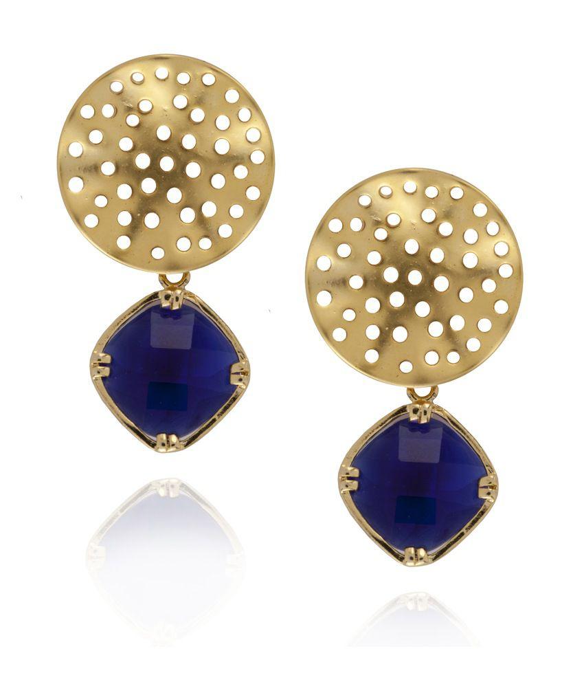 Siyora Blue Golden Earrings