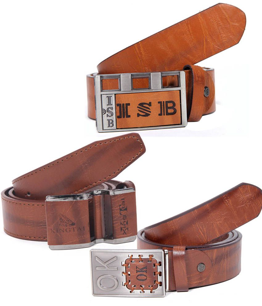 Coaster Brown Casual Single Belt For Men (combo Of 3)