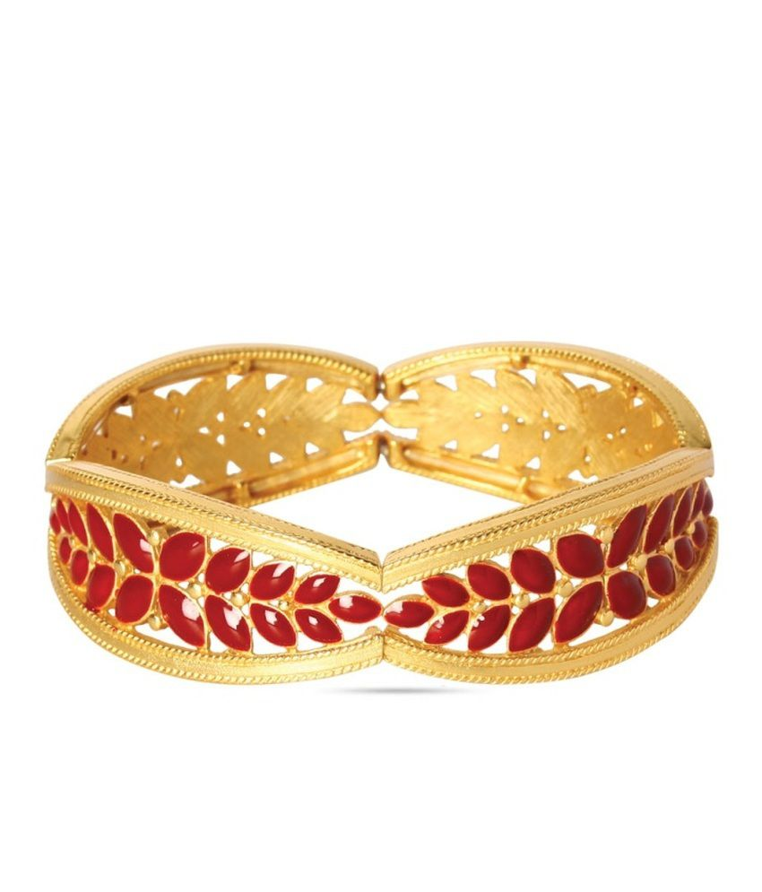 Sparkle Street Fashion Designer Gold And Red Bracelet