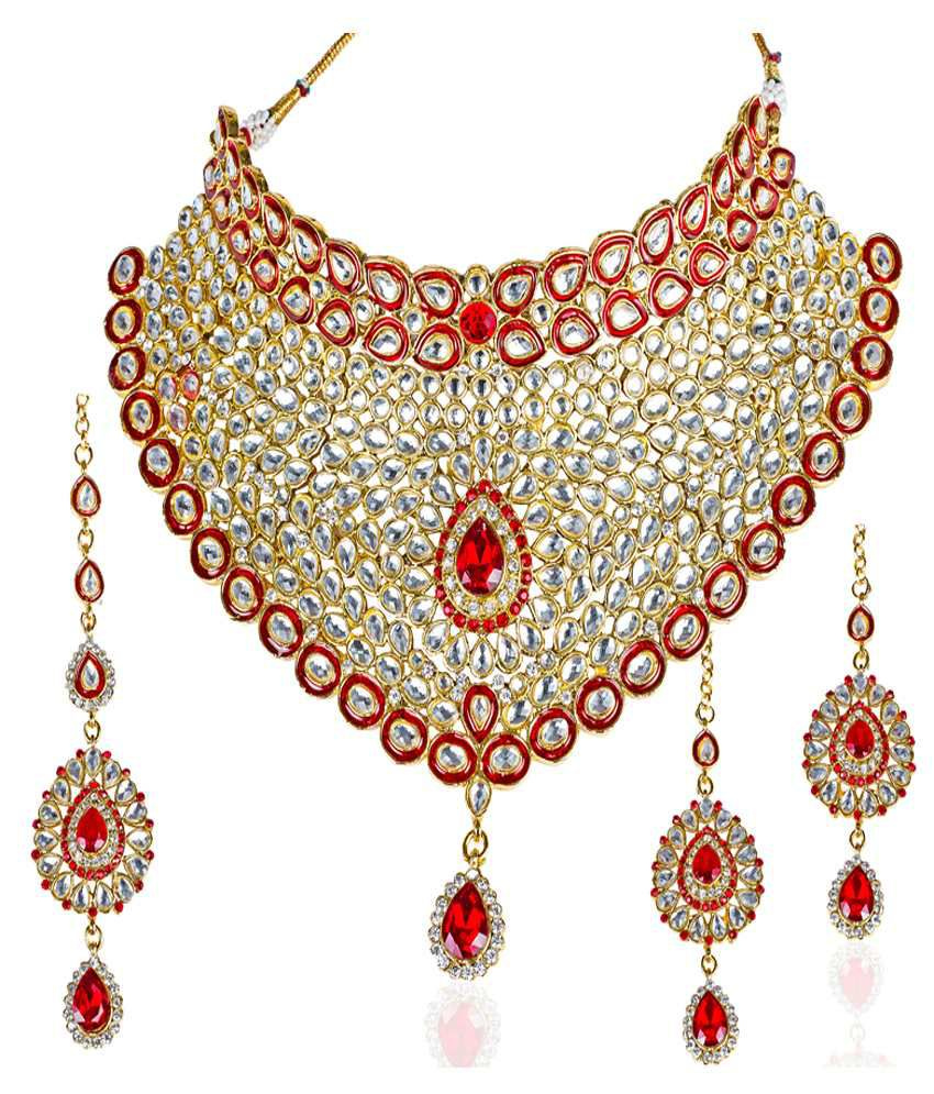 Mithya Exclusive Red Kundan Bridal Necklace Set With Maang