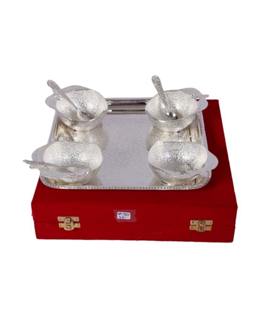 Mia German Silver 4 Apple Bowl Dinner Set With Tray
