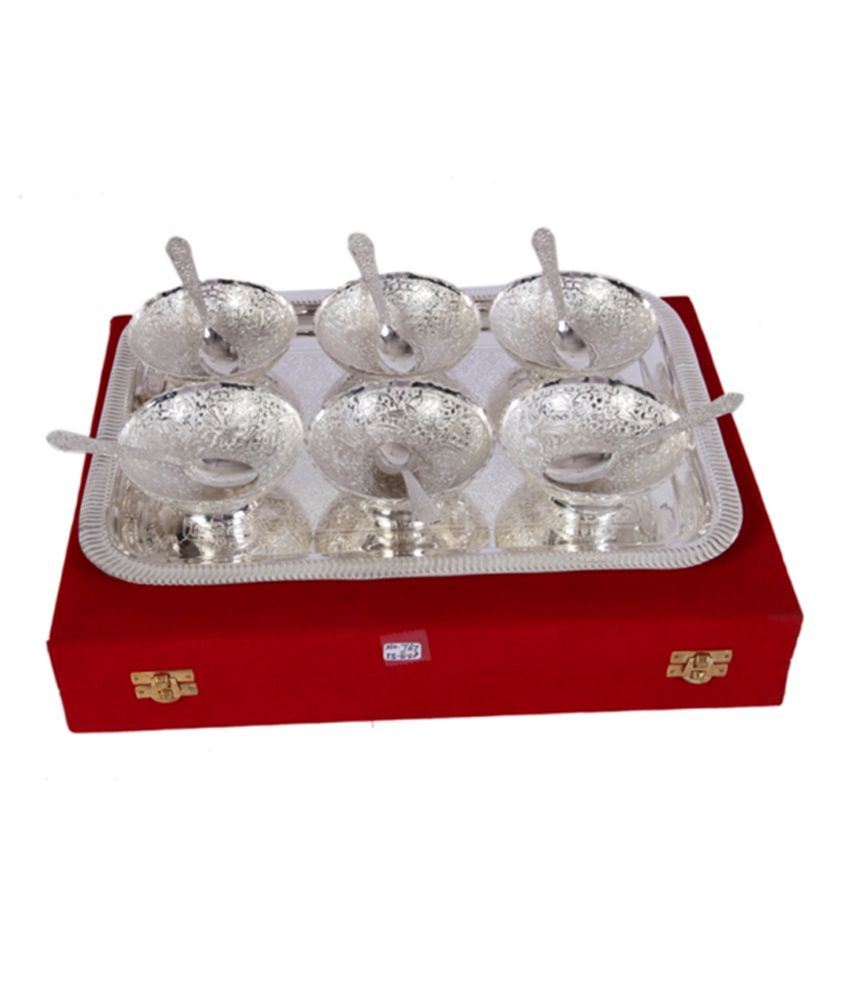 Mia German Silver 6 Bowl Dinner Set With Tray