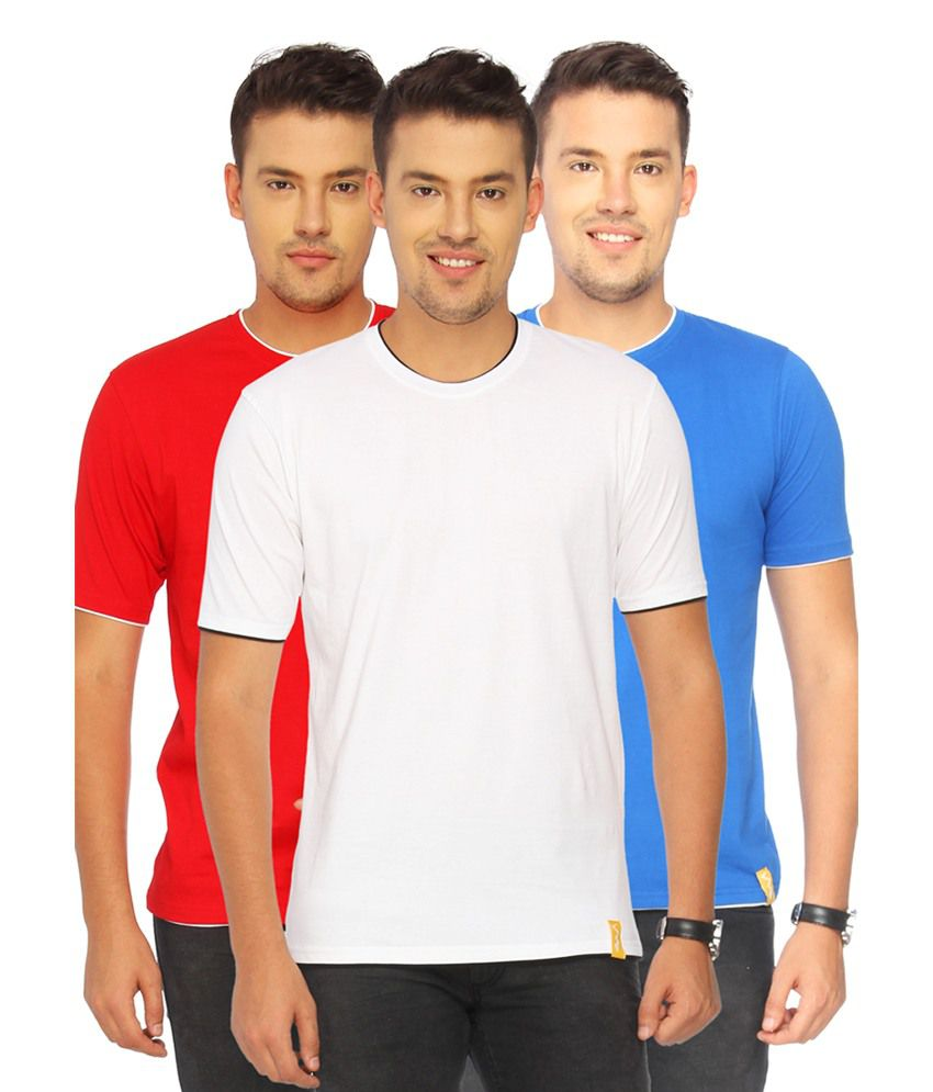 Campus Sutra Multi Cotton T-shirt Combo Of 3