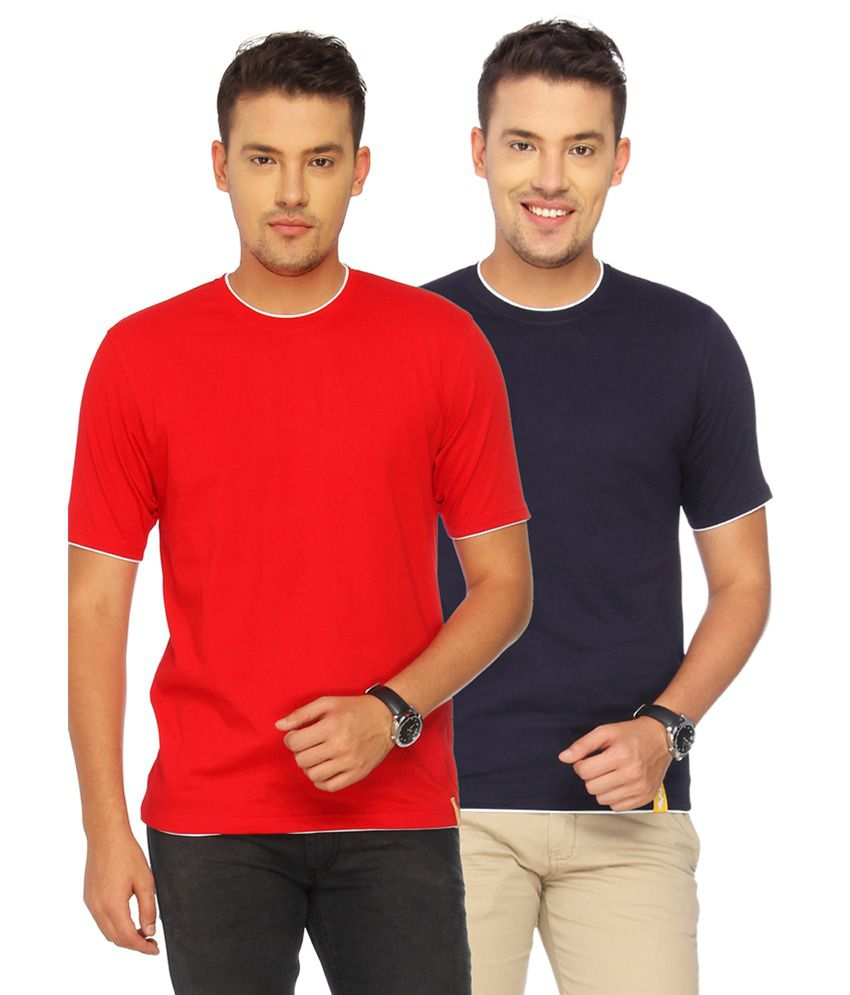 Campus Sutra Red Cotton T-shirt Combo Of 2