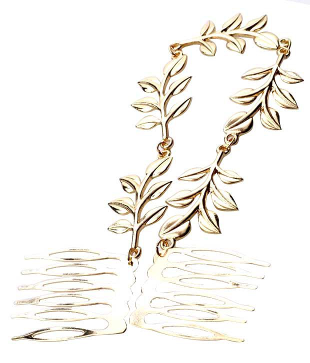 ShinningDiva Golden Finish Leafy Hair Clip
