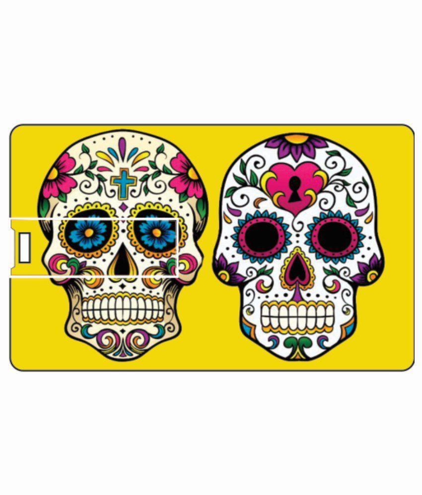 Printland twin skull 4 GB Pen DrivesMulticolor