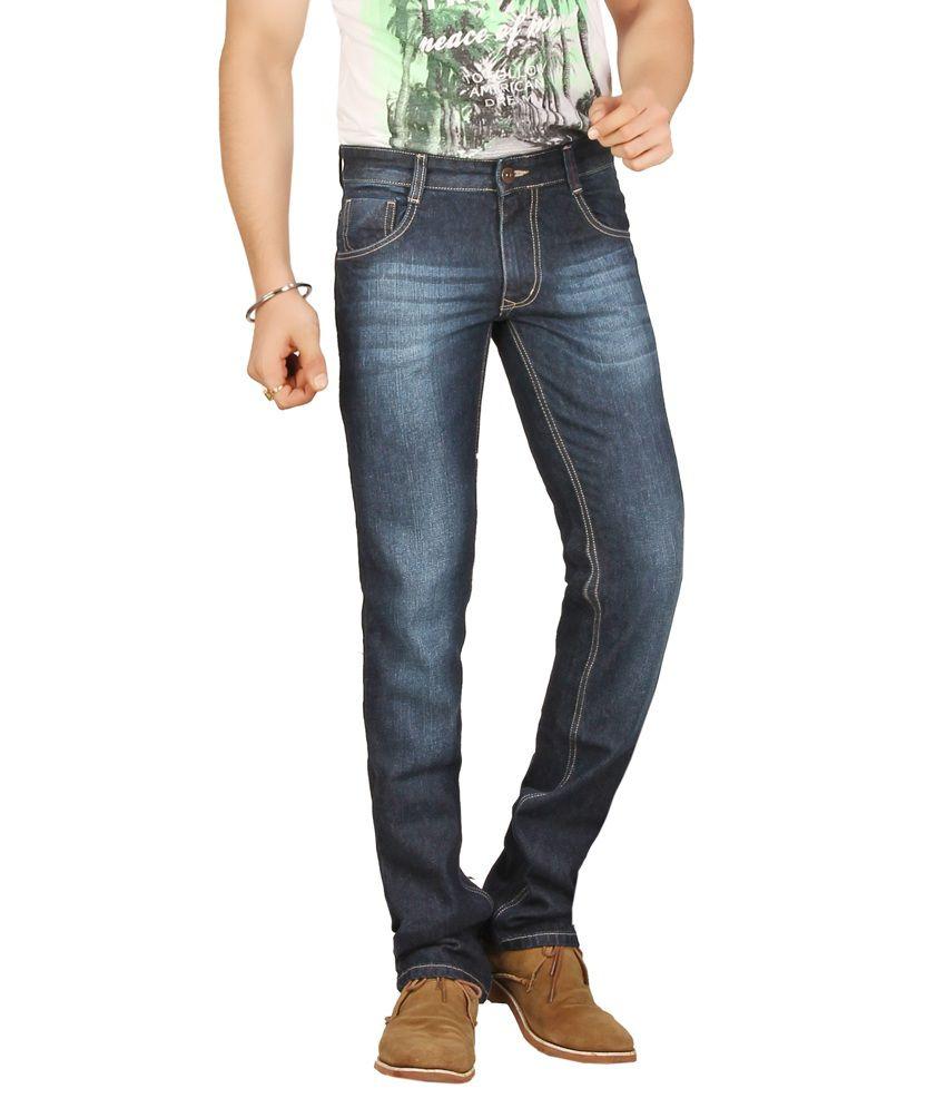 Warewell Blue Regular Fit Mid Rise Denim Jean For Men