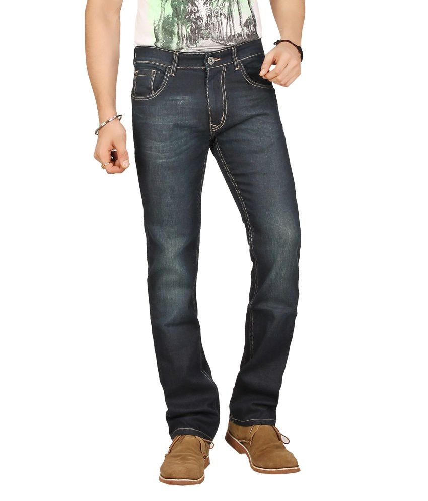Warewell Dark Blue Regular Fit Mid Rise Denim Jean For Men