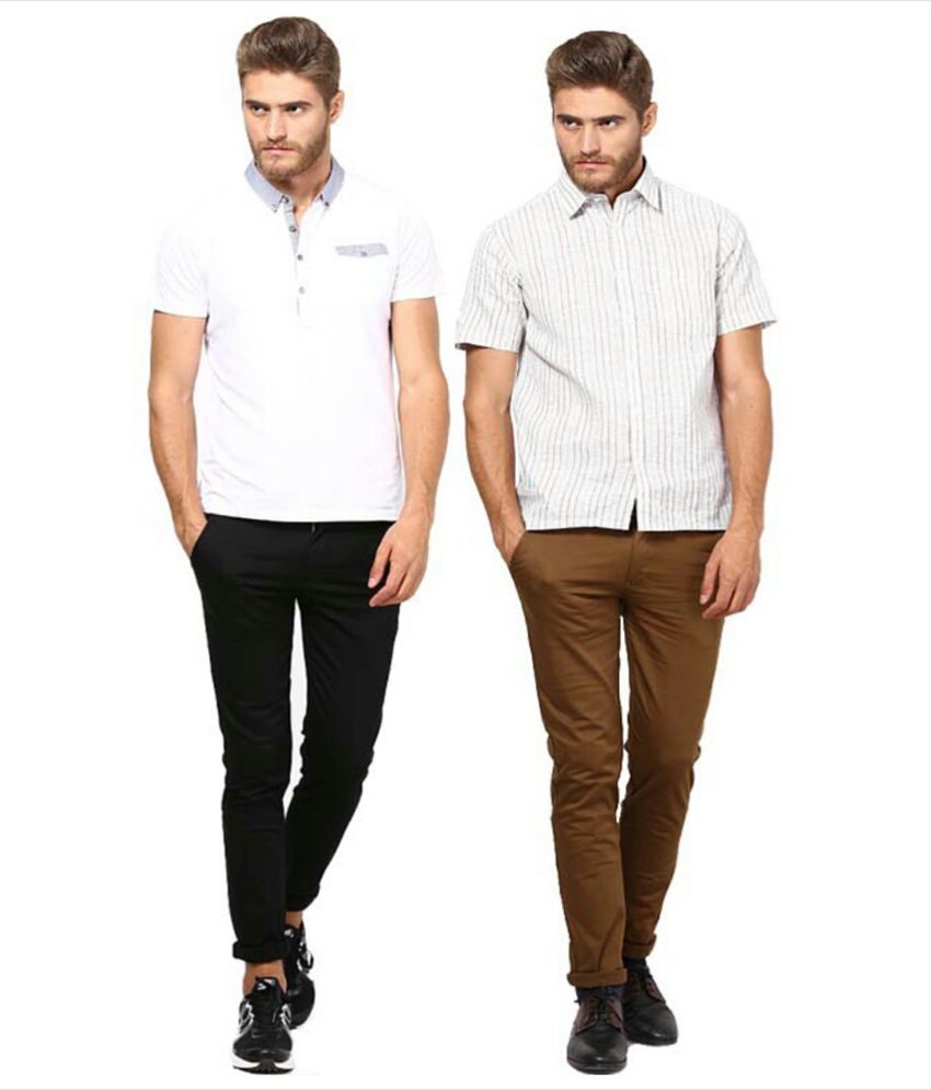 Inspire Clothing Inspiration Pack Of 2 Slim Casual Chinos (Black & D.Khaki)