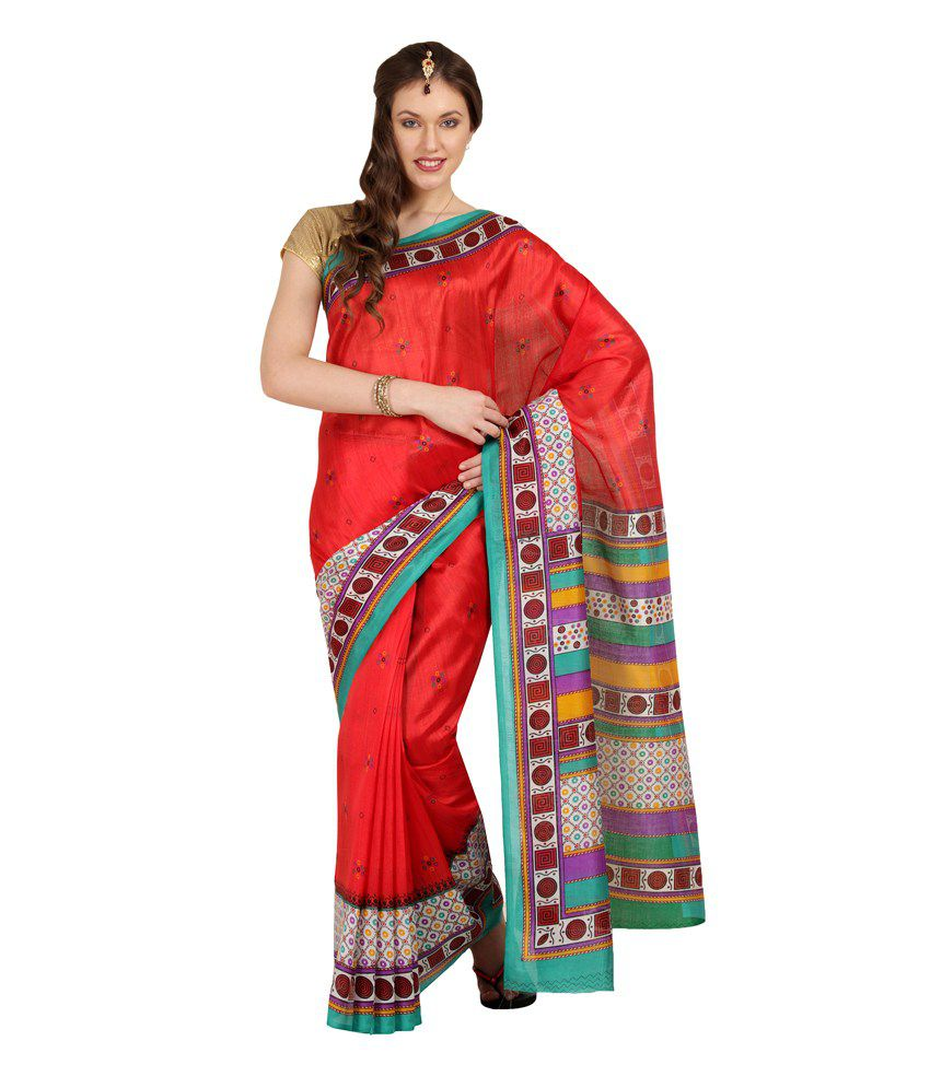 Parchayee Red Printed Geometrical Print Synthetic Art Silk Printed Saree