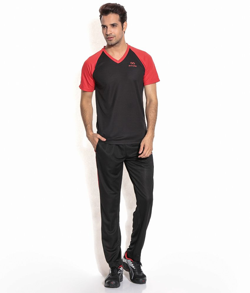 Pure Play Black Polyester T-shirt Combo Of 1 T Shirt And 1 Trackpant