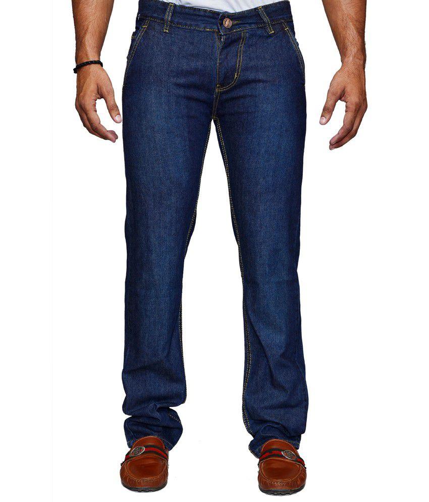 Shade-x Blue Cotton Regular Strechable Jeans