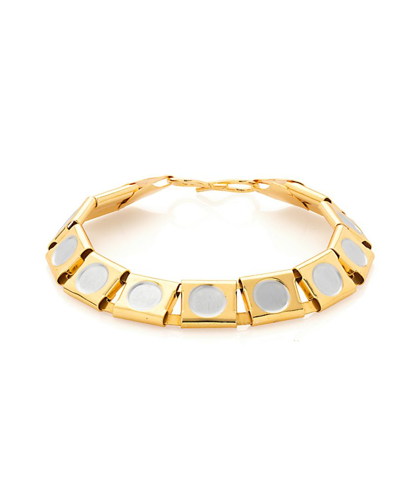 Voylla Exotic Mens Bracelet In Gold And Silver Color