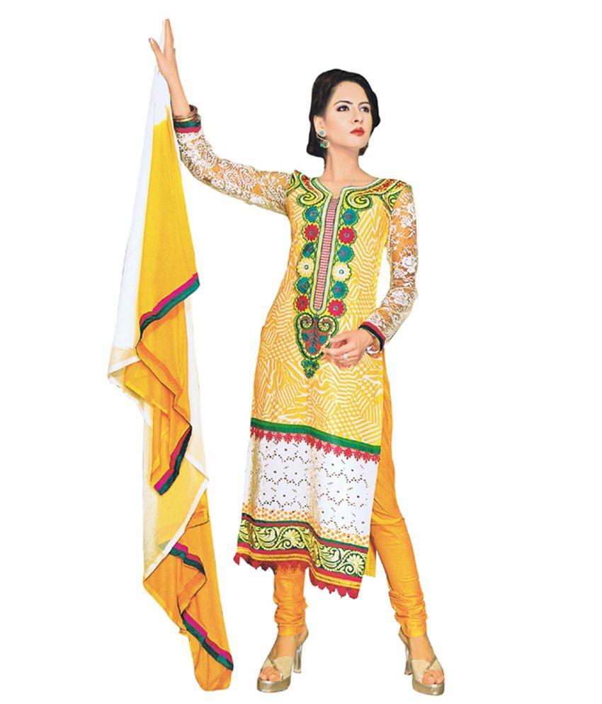 Ritu's Vaani Yellow Embroidered Cotton Patiala Straight Fit Salwar Suit