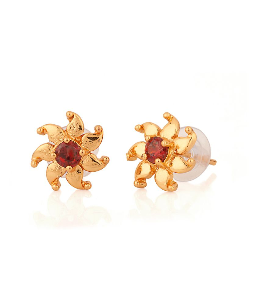 Voylla Enthralling Pair Of Stud Earrings With Floral Motif