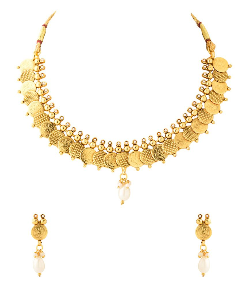 Voylla Graceful Necklace Set With Pearls