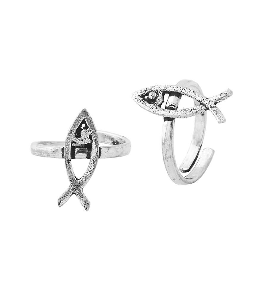 Voylla Oxidized Pair Of Toe Rings Featuring Fish