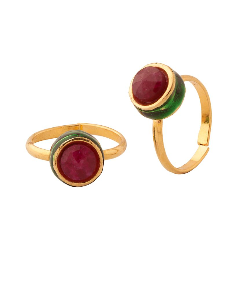 Voylla Pair Of Toe Rings With Maroon Stone And Enamel Work