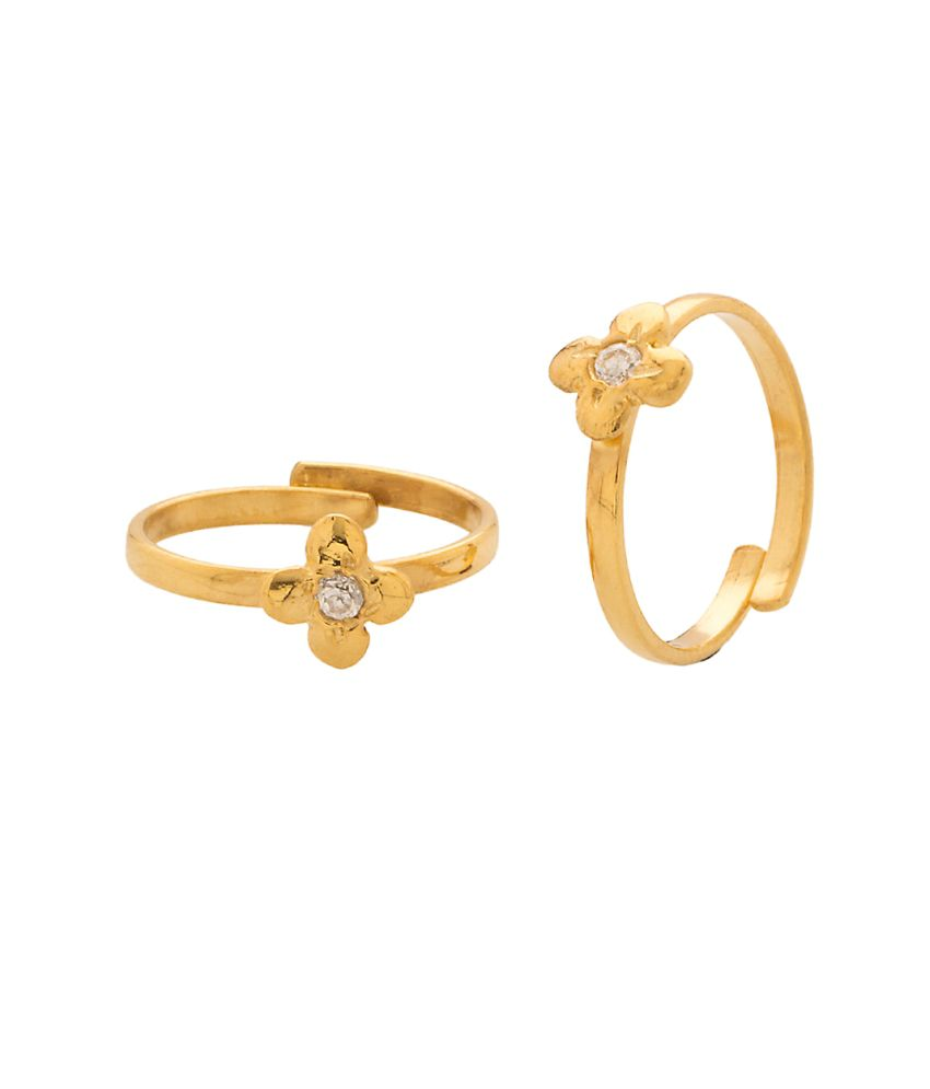 Voylla Pleasing Yellow Gold Plated Pair Of Toe Rings Encrusted With CZ