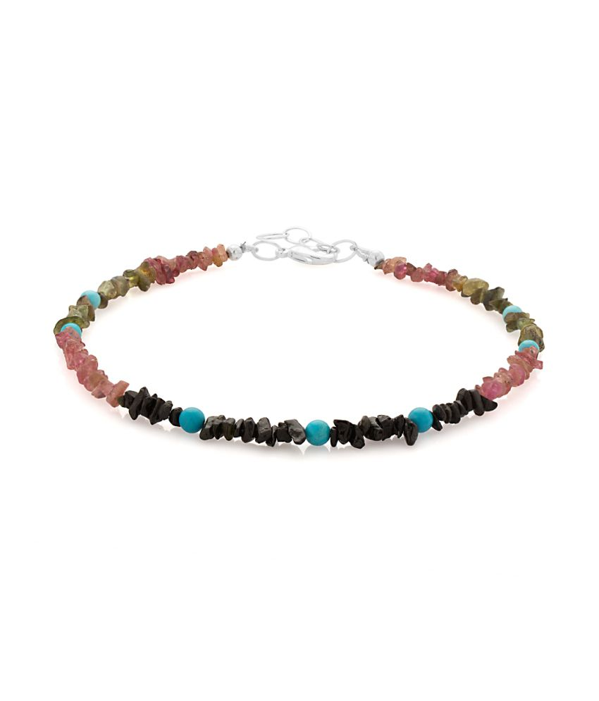 Voylla Single Beaded Anklet With Tourmaline And Turquoise Beads