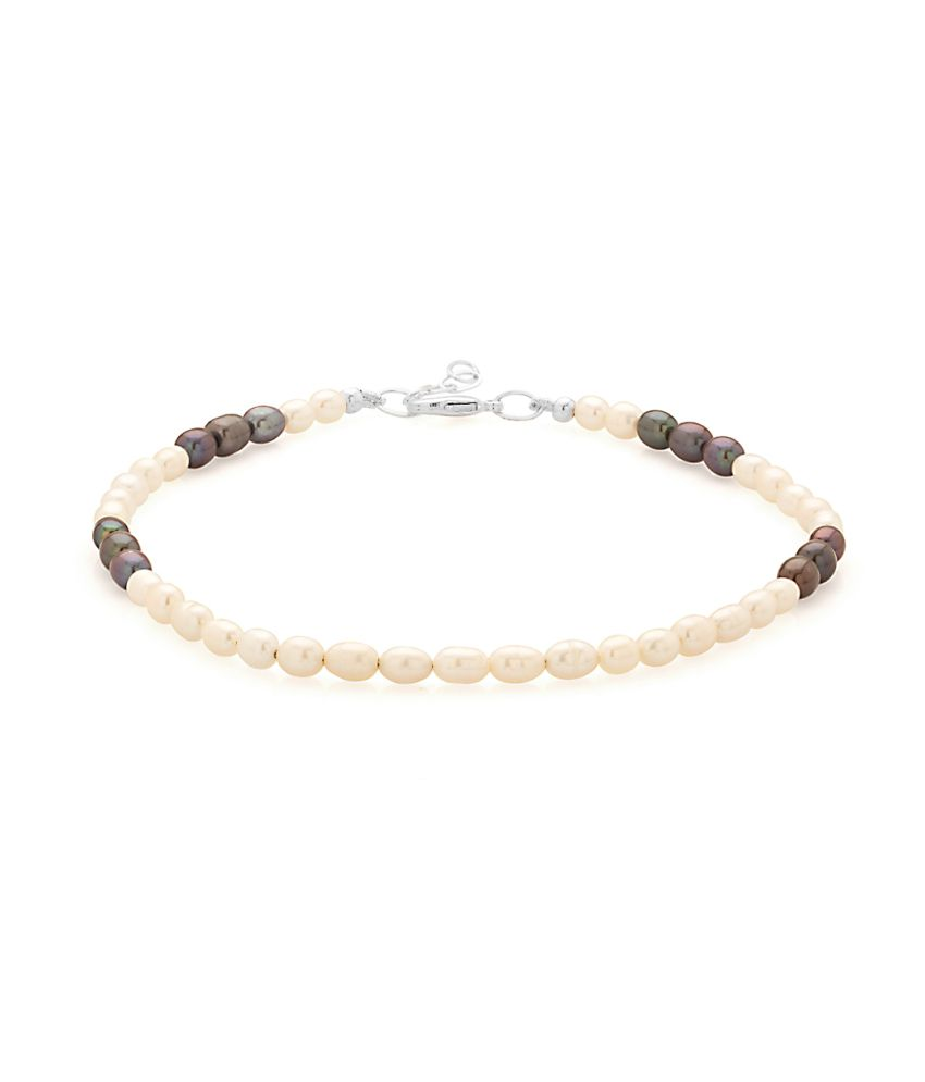 Voylla Single Beaded Anklet With Mother Of Pearl Beads