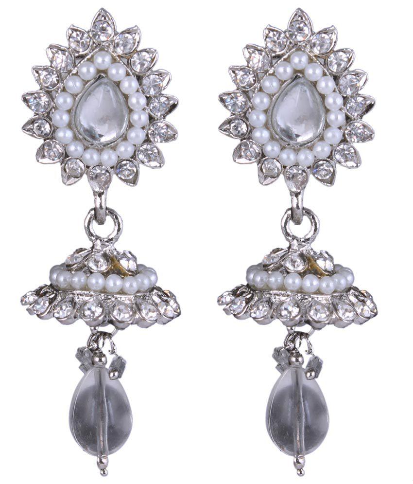 Sp Jewellery Style Diva White Jhumkis
