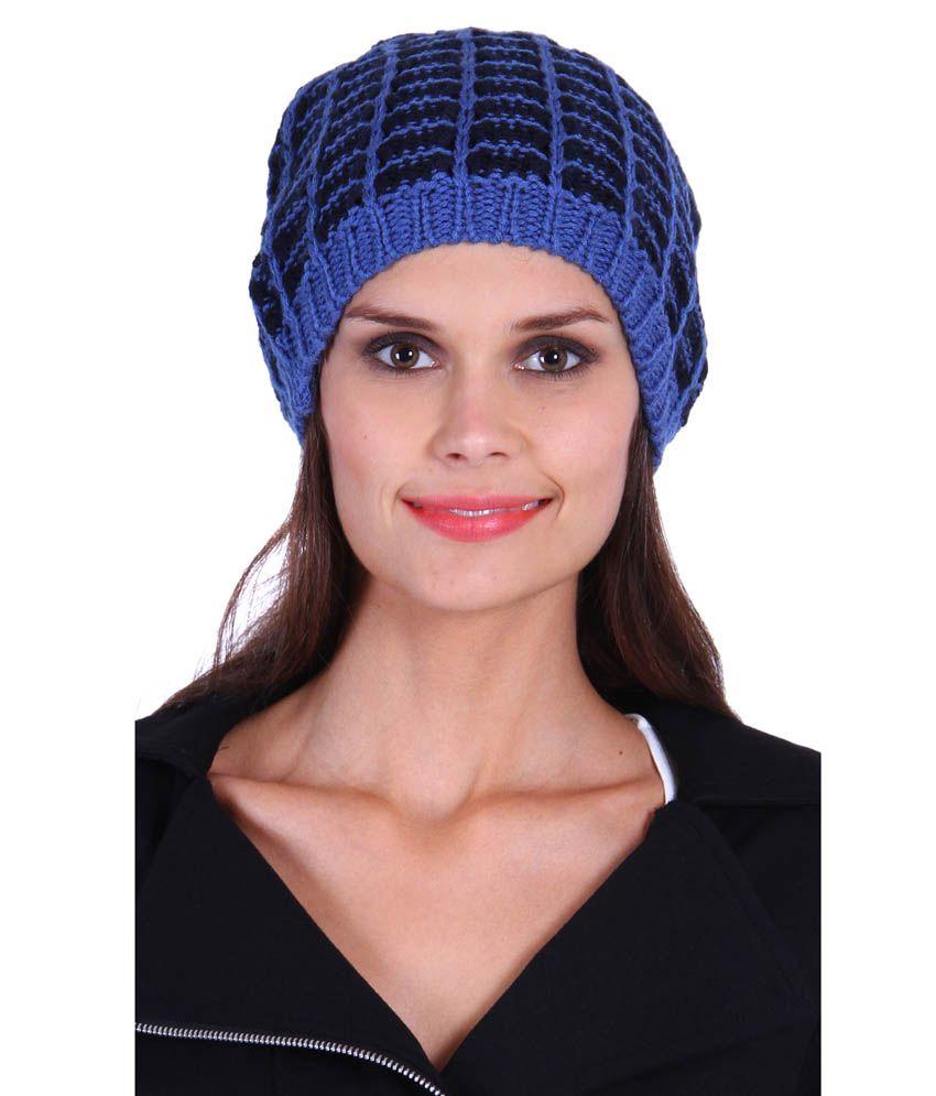 The Gud Look Blue Woollen Beanies Cap Women