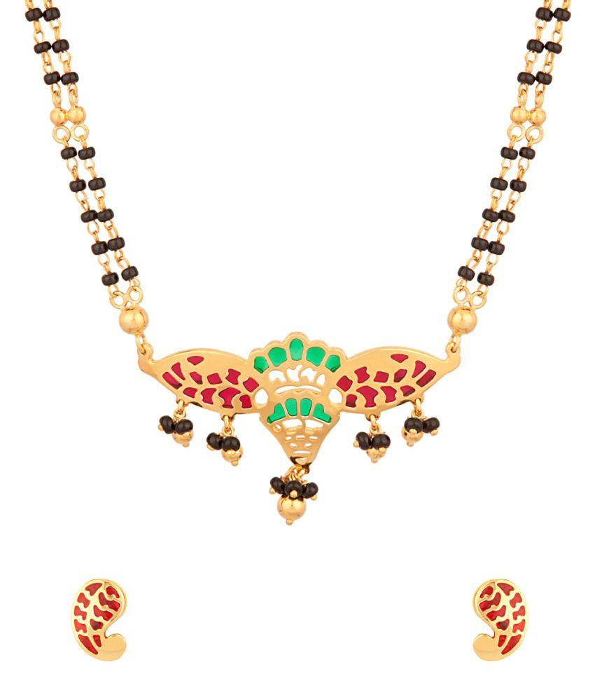 Voylla Double Chain Mangalsutra With Enamel Work