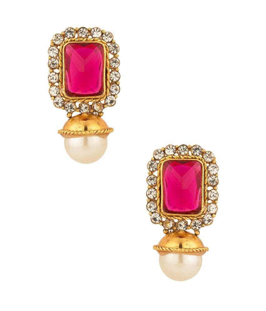 Voylla Enthralling Pair Of Stud Earrings With Cz, Pink Color Stone