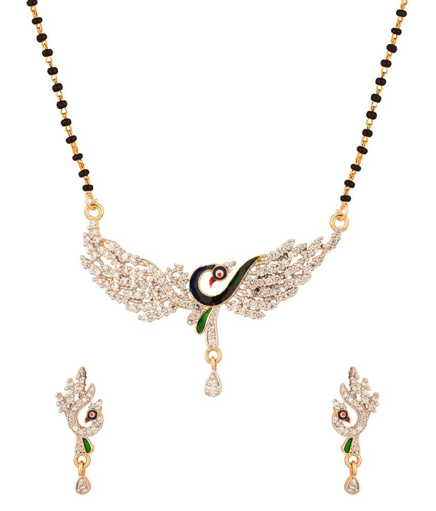 Voylla Fascinating Single Chain Mangalsutra Set With Cz And Enamel Work